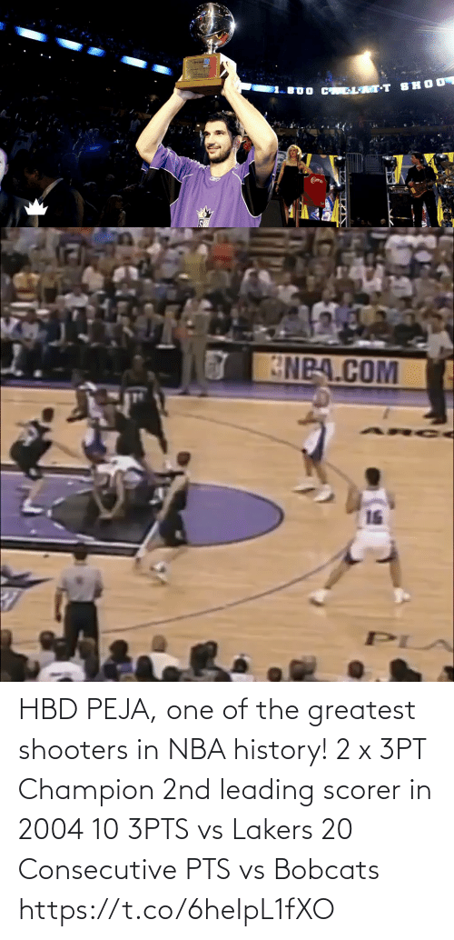 pts: HBD PEJA, one of the greatest shooters in NBA history!  2 x 3PT Champion 2nd leading scorer in 2004 10 3PTS vs Lakers 20 Consecutive PTS vs Bobcats https://t.co/6heIpL1fXO