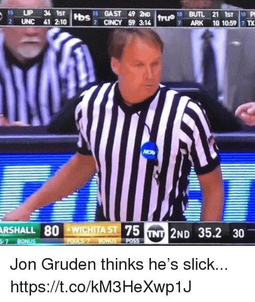 Slick, Jon Gruden, and Ark: Hbs 15 GAST 49 2ND  2 CINCY 59 3:14  2 UNC 41 2:10  7  ARK  10 10:59 7 TX  RSHALL 80 WICHITA ST  75 INT 2ND 352 30  :7 BONUS Jon Gruden thinks he's slick... https://t.co/kM3HeXwp1J