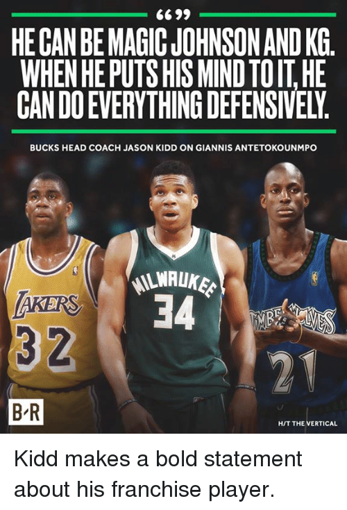 antetokounmpo: HE CAN BE MAGIC JOHNSON AND KG.  WHEN HE PUTS HIS MIND TOIT HE  CAN DO EVERYTHING DEFENSIVELY  BUCKS HEAD COACH JASON KIDD ON GIANNIS ANTETOKOUNMPO  LWALUKE  AKERS  3 2  B-R  HIT THE VERTICAL Kidd makes a bold statement about his franchise player.