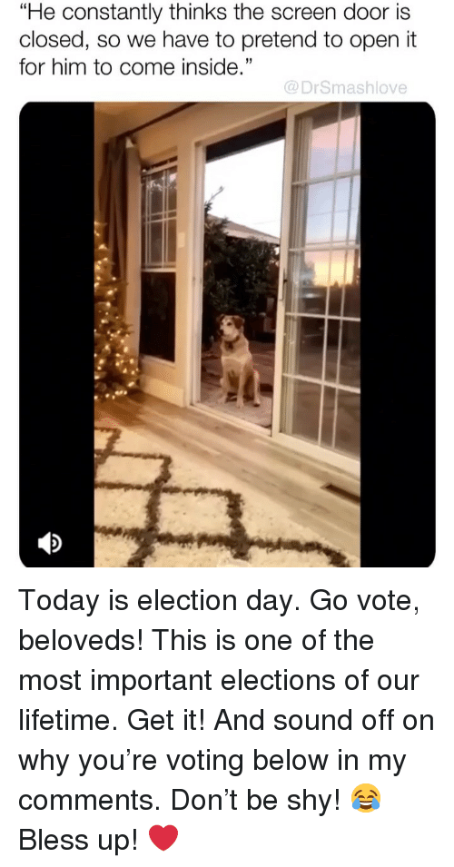 """election day: """"He constantly thinks the screen door is  closed, so we have to pretend to open it  for him to come inside.""""  35  @DrSmashlove Today is election day. Go vote, beloveds! This is one of the most important elections of our lifetime. Get it! And sound off on why you're voting below in my comments. Don't be shy! 😂 Bless up! ❤️"""