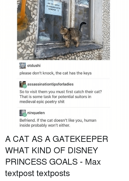 Disney, Goals, and Memes: HE CTY y KOLIUKMECTb  otdushi  please don't knock, the cat has the keys  assassinationtipsforladies  So to visit them you must first catch their cat?  That is some task for potential suitors in  medieval epic poetry shit  ninquelen  Befriend. If the cat doesn't like you, human  inside probably won't either. A CAT AS A GATEKEEPER WHAT KIND OF DISNEY PRINCESS GOALS - Max textpost textposts