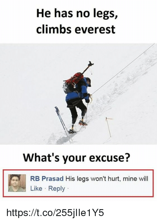everest: He has no legs,  climbs everest  What's your excuse?  RB Prasad His legs won't hurt, mine will  Like Reply https://t.co/255jIIe1Y5