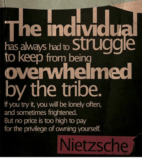 Memes, Struggle, and Frightening: he individu  has always had to  struggle  to keep from bein  by the tribe.  f you try it, you will be lonely often  and sometimes frightened.  But no price is too high to pay  for the privilege of owning yourself  Nietzsche