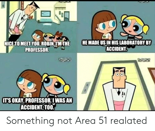 Nice, Area 51, and Robin: HE MADE US IN HIS LABORATORY BY  ACCIDENT.  NICE-TO MEET YOU. ROBIN TM THE  PROFESSOR.  CO Dco  IT'SOKAY.PROFESSOR:IWAS AN  ACCIDENT TOO. Something not Area 51 realated