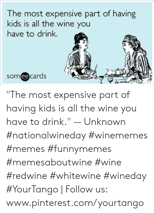 """Memes, Wine, and Pinterest: he most expensive part of having  kids is all the wine you  have to drink.  someecards """"The most expensive part of having kids is all the wine you have to drink."""" — Unknown #nationalwineday #winememes #memes #funnymemes #memesaboutwine #wine #redwine #whitewine #wineday #YourTango   Follow us: www.pinterest.com/yourtango"""
