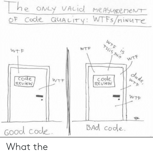 Bad, Dude, and Wtf: he ONLY VACid meAsueenent  OF Code QUALITY: WTFS/iNUTe  WTF IS  Tis SHT  WTF  WTF  wtF  dude,  cocle  Review  WTF  てode  Review  WTF  WTF  BAd code  Good code What the