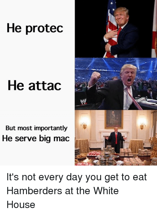 He Attac: He protec  He attac  But most importantly  He serve big mac It's not every day you get to eat Hamberders at the White House