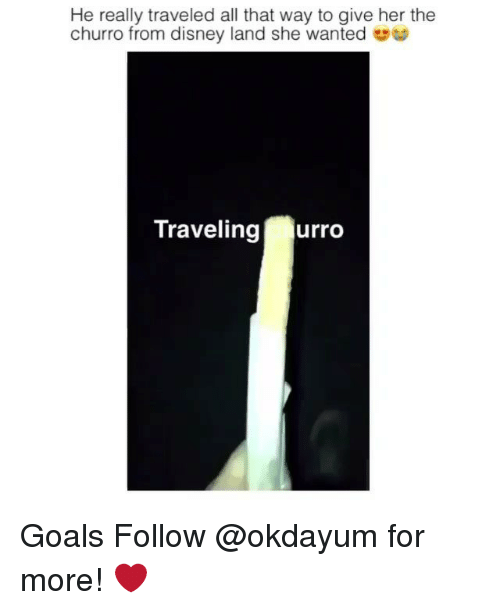 Churro: He really traveled all that way to give her the  churro from disney land she wanted  Traveling  urro Goals Follow @okdayum for more! ❤️