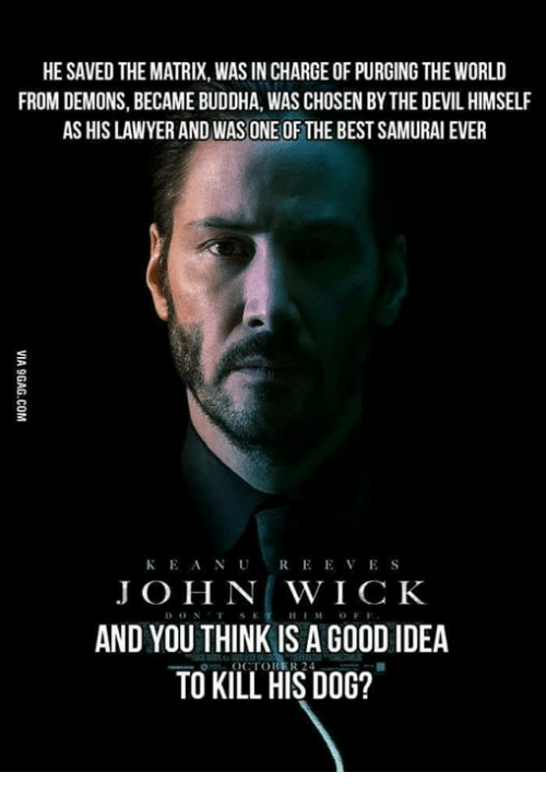 Thinked: HE SAVED THE MATRIX, WAS IN CHARGE OF PURGING THE WORLD  FROM DEMONS, BECAME BUDDHA, WAS CHOSEN BY THE DEVIL HIMSELF  AS HIS LAWYER AND WAS ONE OF THE BEST SAMURAI EVER  KEANUREEVES  J O H N WICK  AND YOU THINK IS A GO0D IDEA  TO KILL HIS DOG?