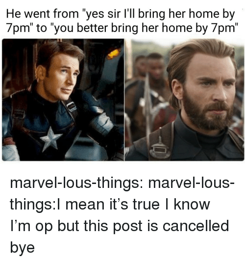 """True, Tumblr, and Blog: He went from """"yes sir l'll bring her home by  7pm"""" to """"you better bring her home by 7pm"""" marvel-lous-things:  marvel-lous-things:I mean it's true  I know I'm op but this post is cancelled bye"""