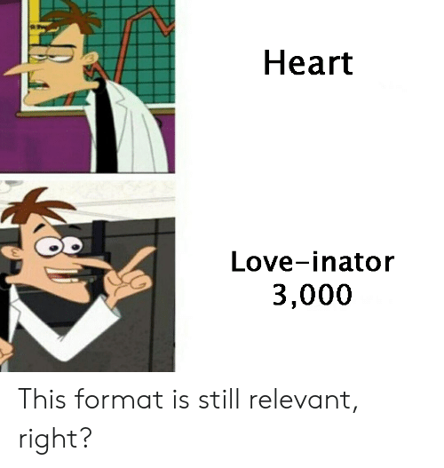 Love, Heart, and Format: Heart  Love-inator  3,000 This format is still relevant, right?