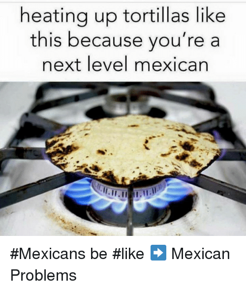 Be Like, Memes, and Heat: heating up tortillas like  this because you're a  next level mexican #Mexicans be #like ➡ Mexican Problems