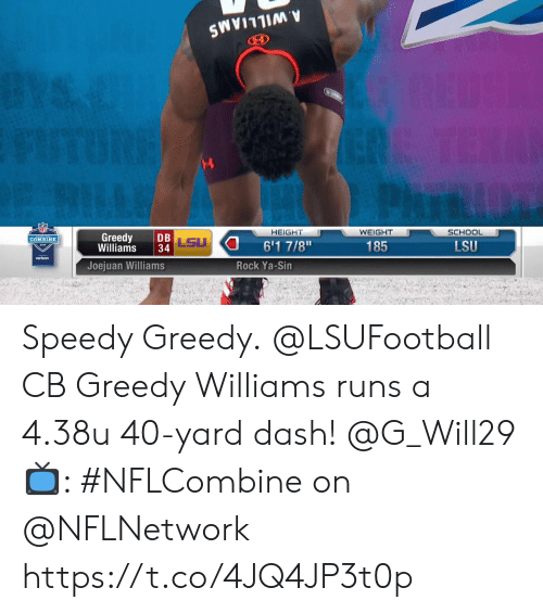 "Memes, School, and Verizon: HEIGHT  WEIGHT  SCHOOL  Greedy DB  Williams 34  LSU  6'1 7/8""  COMBINE  185  LSU  verizon  Joejuan Williams  Rock Ya-Sin Speedy Greedy.  @LSUFootball CB Greedy Williams runs a 4.38u 40-yard dash! @G_Will29  📺: #NFLCombine on @NFLNetwork https://t.co/4JQ4JP3t0p"