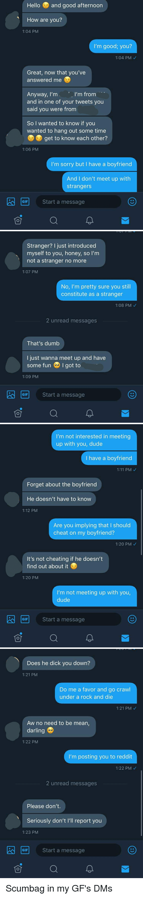 Cheating, Dude, and Dumb: Hello and good afternoon  How are you?  1:04 PM  I'm good; you?  1:04 PM  Great, now that you've  answered me  I'm from  Anyway, I'm  and in one of your tweets you  said you were from  So I wanted to know if you  wanted to hang out some time  get to know each other?  1:06 PM  I'm sorry but I have a boyfriend  And I don't meet up with  strangers  GIF  Start a message   Stranger? I just introduced  myself to you, honey, so I'm  not a stranger no more  1:07 PM  No, I'm pretty sure you still  constitute as a stranger  1:08 PM  2 unread messages  That's dumb  I just wanna meet up and have  some fun I got to  1:09 PM  GIF  Start a message   I'm not interested in meeting  up with you, dude  I have a boyfriend  1:11 PM  Forget about the boyfriend  He doesn't have to know  1:12 PM  Are you implying that I should  cheat on my boyfriend?  1:20 PM  It's not cheating if he doesn't  find out about it  1:20 PM  I'm not meeting up with you,  dude  Start a message  GIF   Does he dick you down?  1:21 PM  Do me a favor and go crawl  under a rock and die  1:21 PM  Aw no need to be mean,  darling  1:22 PM  I'm posting you to reddit  1:22 PM  2 unread messages  Please don't.  Seriously don't I'll report you  1:23 PM  Start a message  GIF  可 Scumbag in my GF's DMs
