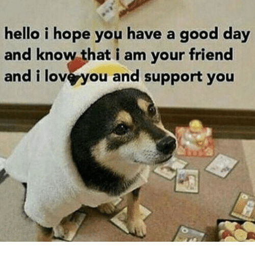 Loveyou: hello i hope you have a good day  and know that i am your friend  and i loveyou and support you