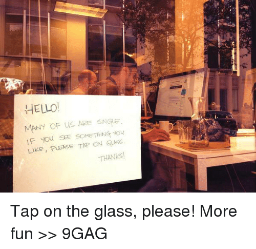 On The Glass: HELLO!  MANY OF us ARE  SNGE  l F you SEE SOMETHING You  LIKE, PUEASE TAP ON GLASS.  THAN Tap on the glass, please!