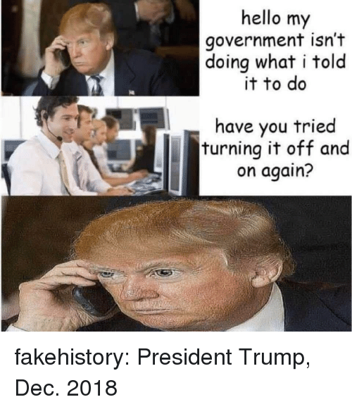 Hello, Tumblr, and Blog: hello my  government isn't  doing what i told  it to do  have you tried  turning it off and  on again? fakehistory:  President Trump, Dec. 2018