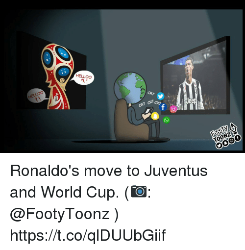 Memes, World Cup, and Juventus: HELLOO  0  HELLOO  CR7  CR7 CR7  TOONZ Ronaldo's move to Juventus and World Cup. (📷: @FootyToonz ) https://t.co/qlDUUbGiif