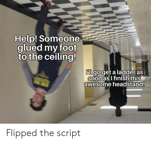 the script: Help! Someone  glued my foot  to the ceiling!  FLl go get a ladder as  Soon as I finish this  awesome headstand!  STER Flipped the script