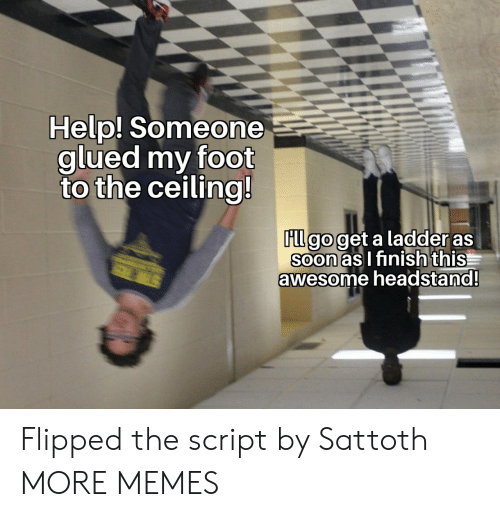 the script: Help! Someone  glued my foot  to the ceiling!  FLl go get a ladder as  Soon as I finish this  awesome headstand!  STER Flipped the script by Sattoth MORE MEMES