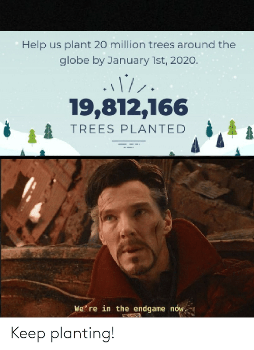 Trees: Help us plant 20 million trees around the  globe by January 1st, 2020.  19,812,166  TREES PLANTED  We' re in the endgame now. Keep planting!