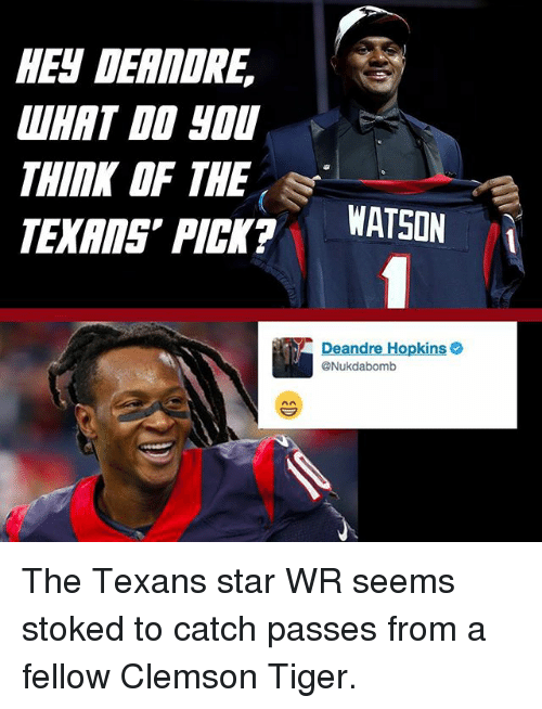 Memes, Star, and Texans: HEN DERMORE  THIMK OF THE  PICK?  WATSON  Deandre Hopkins o  @Nukdabomb The Texans star WR seems stoked to catch passes from a fellow Clemson Tiger.