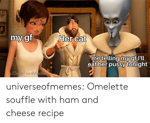 omelette: Her cat  my gf  metelling my gf Ill  eat her pussy tonight  /DeapFriedMada universeofmemes: Omelette souffle with ham and cheeserecipe