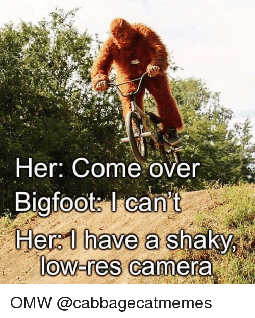 hera: Her: Come over  Bigfoot: I can't  Hera I have a shaky  ow-res Camera OMW @cabbagecatmemes