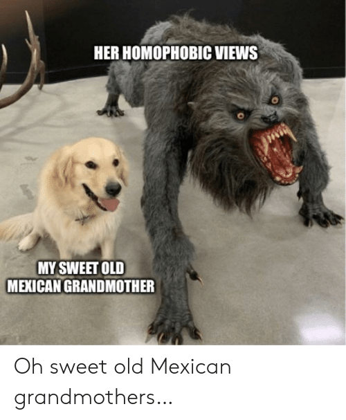 Mexican: HER HOMOPHOBIC VIEWS  MY SWEET OLD  MEXICAN GRANDMOTHER Oh sweet old Mexican grandmothers…
