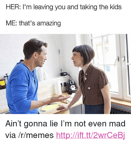 "Thats Amazing: HER: I'm leaving you and taking the kids  ME: that's amazing <p>Ain&rsquo;t gonna lie I&rsquo;m not even mad via /r/memes <a href=""http://ift.tt/2wrCeBj"">http://ift.tt/2wrCeBj</a></p>"