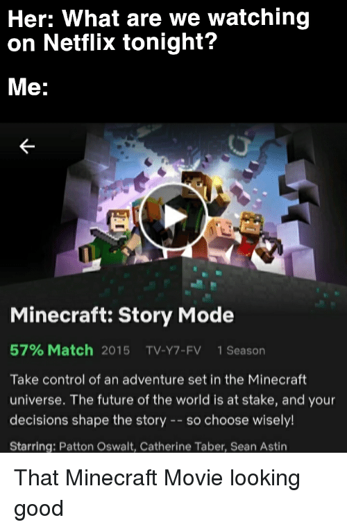 Future, Minecraft, and Netflix: Her: What are we watching  on Netflix tonight?  Me:  Minecraft: Story Mode  57% Match 2015 TV-Y7-FV 1 Season  Take control of an adventure set in the Minecraft  universe. The future of the world is at stake, and your  decisions shape the story- so choose wisely!  Starring: Patton Oswalt, Catherine Taber, Sean Astin