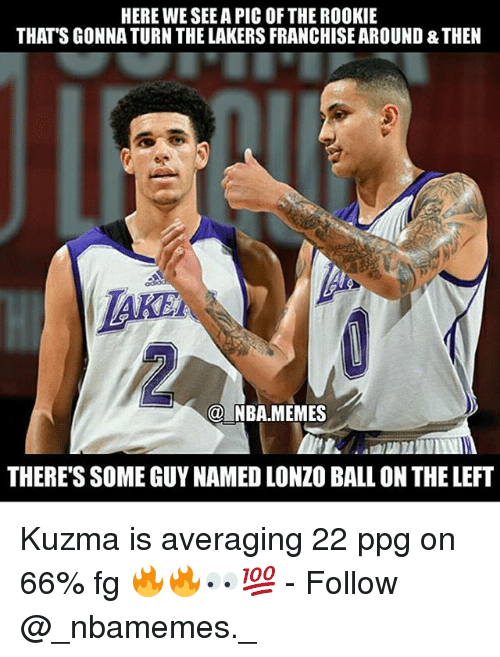 Nba Memes: HERE WE SEE A PIC OF THE ROOKIE  THAT'S GONNA TURN THE LAKERS FRANCHISE AROUND & THEN  @ NBA.MEMES  THERE'S SOME GUY NAMED LONZO BALL ON THE LEFT Kuzma is averaging 22 ppg on 66% fg 🔥🔥👀💯 - Follow @_nbamemes._