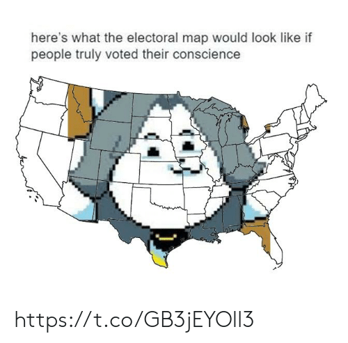 Conscience, Map, and What: here's what the electoral map would look like if  people truly voted their conscience https://t.co/GB3jEYOll3