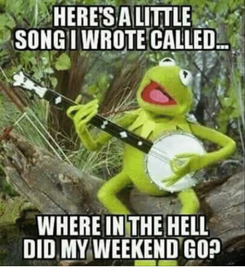 My Weekend: HERESALITTLE  SONGI WROTE CALLED  WHERE IN THE HELL  DID MY WEEKEND GO?