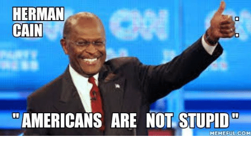 Memes, 🤖, and Herman Cain: HERMAN  CAIN  AMERICANS ARE NOT STUPID  MEMEFUL COM