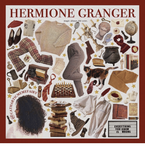 Hermione: HERMIONE GRANGER  aScre  magic always did exist  AREPAIRY  EVERYTHING  YOU KNOW  IS WRONG  QC  @CATHA