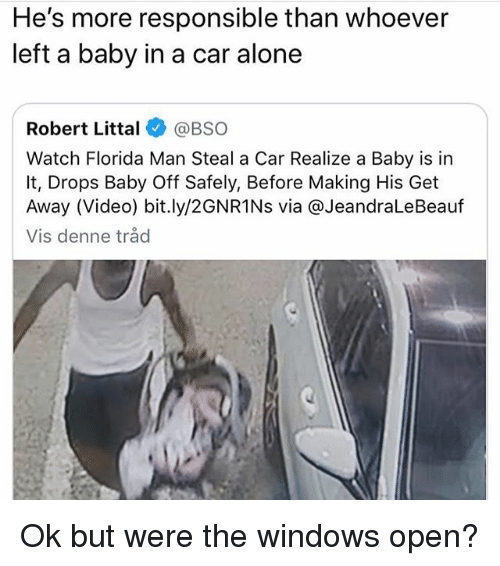 Being Alone, Florida Man, and Windows: He's more responsible than whoever  left a baby in a car alone  Robert Littal@BSO  Watch Florida Man Steal a Car Realize a Baby is in  It, Drops Baby Off Safely, Before Making His Get  Away (Video) bit.ly/2GNR1Ns via @JeandraLeBeauf  Vis denne tråd Ok but were the windows open?