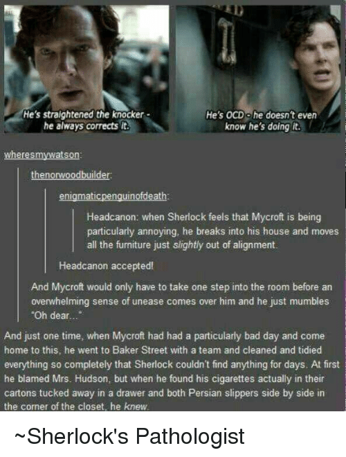 """Sherlocking: He's straightened the knocker  He's OCD olhe doesn't even  he always corrects lt.  know he's doing it.  where smywatson:  then onwoodbuilder  enigmatic  Headcanon: when Sherlock feels that Mycroft is being  particularly annoying, he breaks into his house and moves  all the furniture just slightly out of alignment.  Head canon accepted!  And Mycroft would only have to take one step into the room before an  overwhelming sense of unease comes over him and he just mumbles  """"Oh dear.  And just one time, when Mycroft had had a particularly bad day and come  home to this, he went to Baker Street with a team and cleaned and tidied  everything so completely that Sherlock couldn't find anything for days. At first  he blamed Mrs. Hudson, but when he found his cigarettes actually in their  cartons tucked away in a drawer and both Persian slippers side by side in  the corner of the closet, he knew. ~Sherlock's Pathologist"""