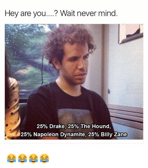 Napoleon Dynamite: Hey are you....? Wait never mind  25% Drake, 25% The Hound.  25% Napoleon Dynamite, 25% Billy Zane 😂😂😂😂
