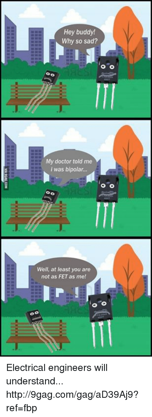 Fetli: Hey buddy!  Why so sad?  O O  My doctor told me  i was bipolar.  Well, at least you are  not as FET as me!  o o Electrical engineers will understand... http://9gag.com/gag/aD39Aj9?ref=fbp