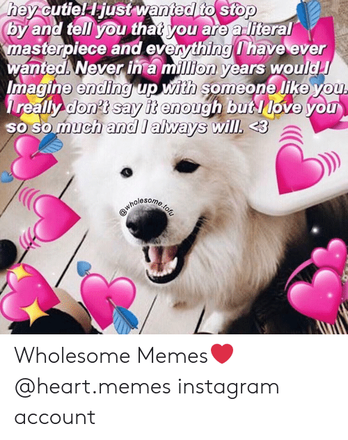 Instagram, Memes, and Heart: hey cutiel Hjust wanted to stop  by and tell you that you are a literal  asterpiece and everything have eyer  wanted Never in a million years would  magine ending up with someone like you  really don't sav it enough butlove you  o so much and l always will, 3  SO  nolesom Wholesome Memes❤ @heart.memes instagram account