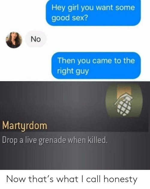 Honesty: Hey girl you want some  good sex?  Then you came to the  right guy  Martyrdom  Drop a live grenade when killed.  No Now that's what I call honesty