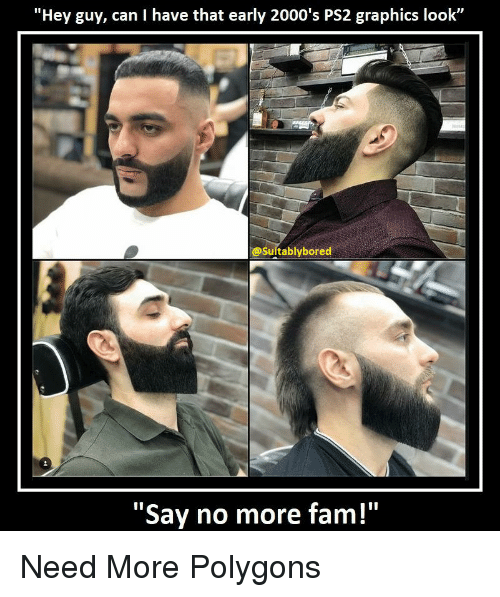 """Say No More Fam: """"Hey guy, can I have that early 2000's PS2 graphics look""""  @Suitablybored  """"Say no more fam!"""" Need More Polygons"""
