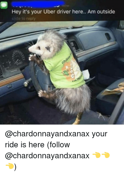 Am Outside: Hey it's your Uber driver here.. Am outside  e to reply @chardonnayandxanax your ride is here (follow @chardonnayandxanax 👈👈👈)