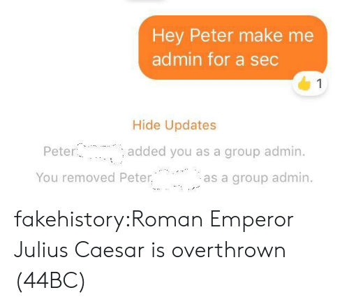 Julius Caesar: Hey Peter make me  admin for a sec  1  Hide Updates  Peter  added you as a group admin.  You removed Peter.  as a group admin. fakehistory:Roman Emperor Julius Caesar is overthrown (44BC)