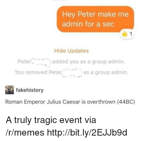 Julius Caesar: Hey Peter make me  admin for a sec  Hide Updates  Pete  You removed Peteras a group admin.  added you as a group admin.  fakehistory  Roman Emperor Julius Caesar is overthrown (44BC) A truly tragic event via /r/memes http://bit.ly/2EJJb9d