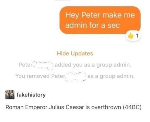 "Julius Caesar: Hey Peter make me  admin for a sec  Hide Updates  Peter  added you as a group admin.  as a group admin.  , ""  You removed Peter  -a  fakehistory  Roman Emperor Julius Caesar is overthrown (44BC)"