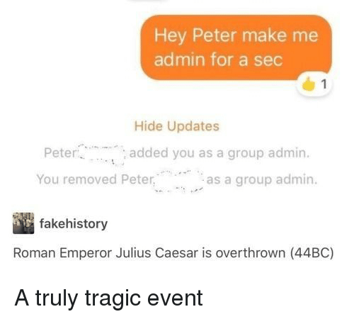 Julius Caesar: Hey Peter make me  admin for a sec  Hide Updates  Pete  You removed Peteras a group admin.  added you as a group admin.  fakehistory  Roman Emperor Julius Caesar is overthrown (44BC) A truly tragic event