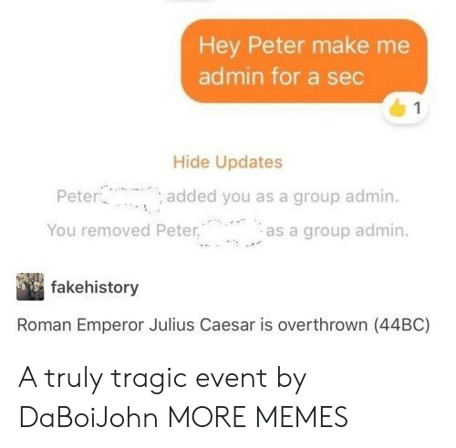 Julius Caesar: Hey Peter make me  admin for a sec  Hide Updates  Pete  You removed Peteras a group admin.  added you as a group admin.  fakehistory  Roman Emperor Julius Caesar is overthrown (44BC) A truly tragic event by DaBoiJohn MORE MEMES