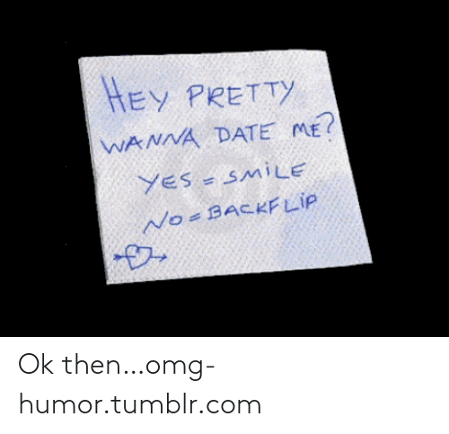 Wanna Date: HEY PRETTY  WANNA DATE ME?  YES - SMiLE  No-BACKFLIP Ok then…omg-humor.tumblr.com